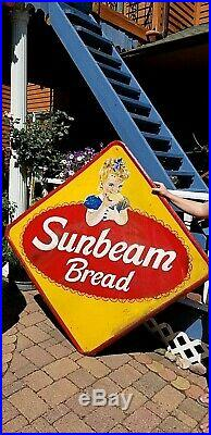 Vintage Lg 63x63 Diamond Sunbeam Bread Metal Sign With Girl Graphic Kitchen Bakery