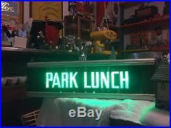 Vintage Light Up GREEN Park lunch Metal Sign