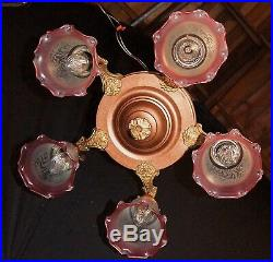 Vintage Lighting antique 1920s pan chandelier with French Viumme (signed) shades