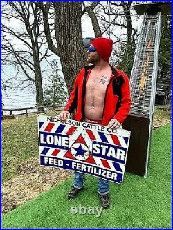 Vintage Lone Star Feeds Texas Advert Feed Seed Metal Farm Ranch Sign 36X24