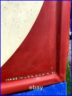 Vintage Metal 1948 Vertical Fisk Tires Sign Gasoline Gas Oil With Child Graphics