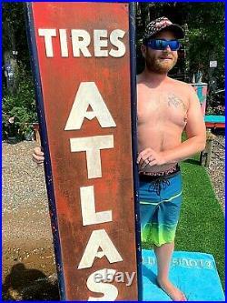 Vintage Metal 1949 Vertical Atlas Tire Battery Sign Gasoline Gas Oil