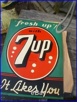Vintage Metal 7up Soda Sign Almost Mint Condition