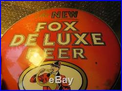 Vintage Metal Advertising Sign Chicago The New Fox Deluxe Beer 9 Breweriana