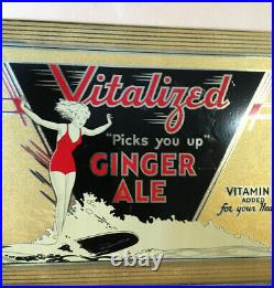 Vintage Metal Advertising Sign Tin On Cardboard 1930s Surf Rider