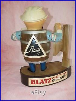 Vintage Metal Blatz On Draft Beer Barrel Man Sign Bar Display Figure Statue