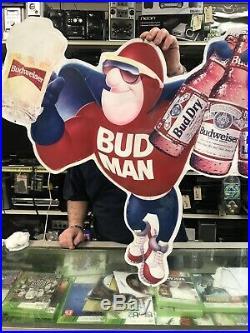 Vintage Metal Budman Beer Sign 1991 Budweiser Bud Man Advertising