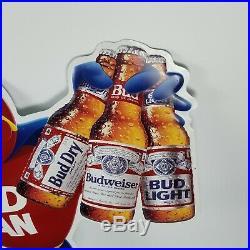 Vintage Metal Budman Beer Sign 30 x 33 1991 Budweiser Bud Man Advertising