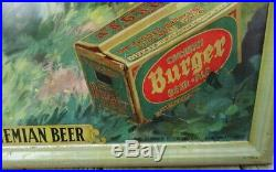 Vintage Metal Burger Beer Self Framed Advertising Sign Circa 1950s