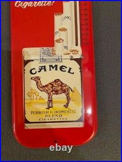 Vintage Metal Camel Cigarette Thermometer Advertising Sign