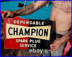 Vintage Metal Champion Flange Spark Plug Outboard Gas Oil Flange Sign 19x12
