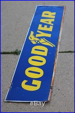 Vintage Metal Good Year Advertising Double Sided Tire Sign Large 66 x 12