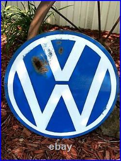 Vintage Metal Hand Painted Volkswagen Car Dealer Sign VW Service Shop Heavy Duty