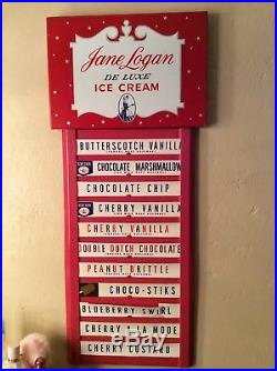 Vintage Metal Jane Logan Ice Cream Menu Sign Very Good Cond
