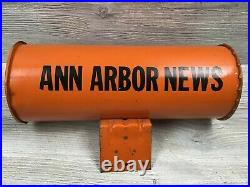 Vintage Metal Newspaper Delivery Mailbox Tube ANN ARBOR NEWS Michigan Nice