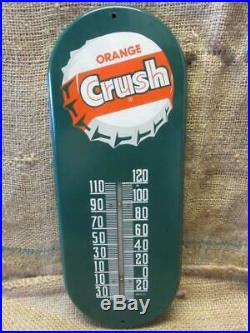 Vintage Metal Orange Crush Thermometer Sign Antique Old Soda Drink Cola 9962
