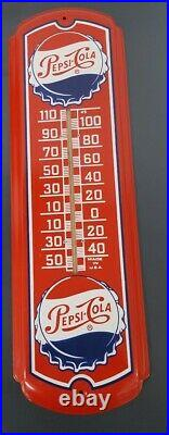 Vintage Metal Pepsi-Cola Soda Thermometer Advertising Sign 27 Rare Condition