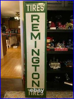 Vintage Metal Remington Tires Sign 59.5x14 Very Nice