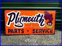 Vintage Metal Road Runner Dodge Plymouth PARTS SERVICE Truck 36 Car Hotrod Sign