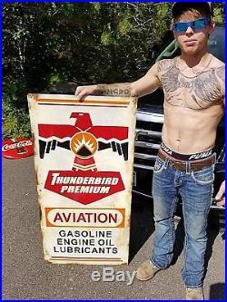Vintage Metal Thunderbird Avaition Gas Sign Gasoline Gas Oil 48X24