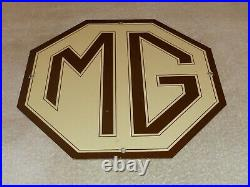 Vintage Mg Midget Car Truck 11 3/4 Porcelain Metal British Gasoline & Oil Sign