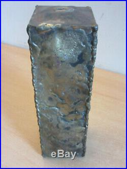 Vintage Mid Century Brutalist Metal welded Vase Signed Straicos'72 10