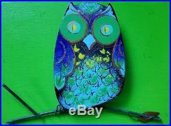 Vintage Mid Century C. Jere Enamel Metal Owl Wall Sculpture Art 1966 Signed RARE