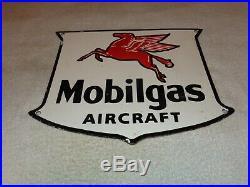 Vintage Mobil Mobilgas Aircraft Pegasus 12 Porcelain Metal Gasoline & Oil Sign