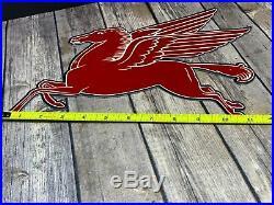 Vintage Mobil Mobilgas Die-cut Flying Red Pegasus Horse 14 Metal Gasoline Sign