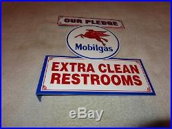 Vintage Mobil Mobilgas Pegasus Clean Restrooms 11 3/4 Metal Gas Oil Flange Sign