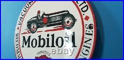 Vintage Mobil Mobiloil Porcelain Race Car Metal Gargoyle Gas Pump Sign