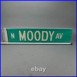 Vintage Moody Ave. Real Chicago Metal Street Road Sign Green White with Bracket