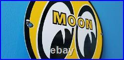 Vintage Moon Eyes Automobile Porcelain Gas Service Pump Plate Ad Metal Sign