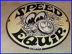 Vintage Moon Eyes Speed Equipment Car Eyes 12 Porcelain Metal Gasoline Oil Sign