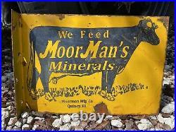 Vintage MoorMans Minerals Porcelain Metal Flange Sign Gas Farm Animal Cow Feed