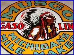 Vintage Musgo Michigan's Mile Marker Indian 11 3/4 Porcelain Metal Gas Oil Sign