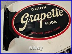Vintage N. O. S GRAPETTE SODA Oval enamel metal FLANGE sign STOUT