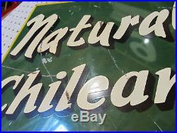 Vintage Natural Chilean Soda 1940's Flange Sign 21.5 X 15 With 1.5 Metal Flange