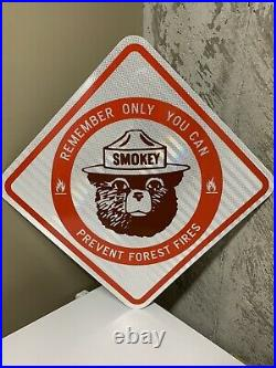 Vintage New Old Stock Smokey The Bear Reflective Metal Sign