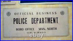 Vintage New York City Police Department Signs, Metal, Window I. D, NYPD, Rare