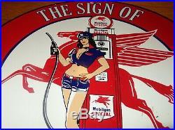 Vintage Nos 1956 Mobil Mobilgas Woman 12 Porcelain Metal Gasoline & Oil Sign