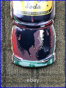 Vintage Nu Grape Nugrape Advertising Sign Bottle 17 Stamped Pressed Metal 1950s