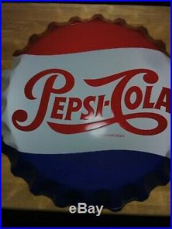 Vintage ORIGINAL STOUT 0644561 27 PEPSI-COLA Bottle Cap Metal SIGN Nice Used