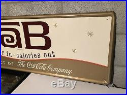 Vintage ORIGINAL TaB/COCA-COLA Tin/Metal Store Sign 53x17 A BEAUTY Near MINT