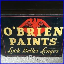 Vintage O'Brien Paints Large Metal Sign Eagle Paint Varnish
