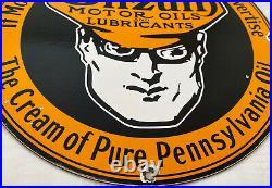 Vintage Oilzum Motor Oil Porcelain Metal White & Bagley USA 12 Button Gas Sign