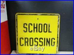 Vintage Old Embossed School Crossing Metal Road Sign Heavy Large