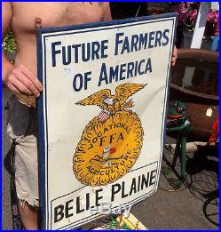 Vintage Old LG Future Farmers of America FFA Metal Sign With Eagle Graphic logo