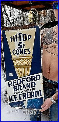 Vintage Old Original Redford Ice Cream Metal Sign With Hi Top Cone Graphic 30X14