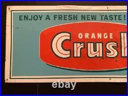 Vintage Orange Crush Metal Soda Sign Made in USA Stout Sign Co. Rare Original